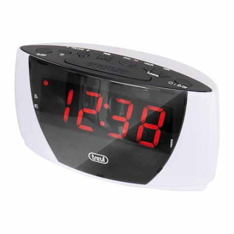 Clockradio m/ FM radio, m/ stort LED display, hvid