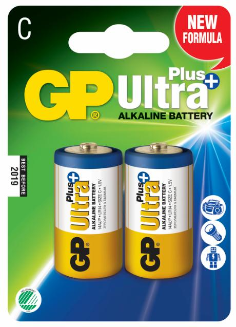 GP Ultra Plus+ Alkaline C/LR14 batteri 2-pak