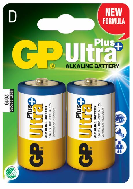 GP Ultra Plus+ Alkaline D/LR20 batteri 2-pak