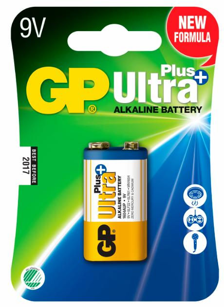 GP Ultra Plus+ Alkaline 9V/6LF22 batteri 1-pak