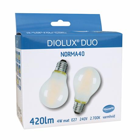 DIOLUX DUO NORMA40 4W mat 827 E27 420lm 320°