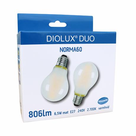 DIOLUX DUO NORMA60 6,5W mat 827 E27 806lm 320°